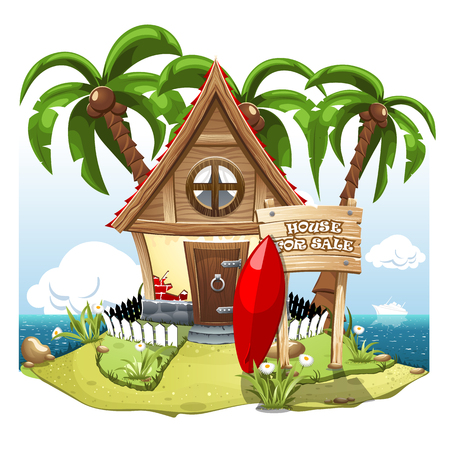 Cartoon scene with House for sale. Illustration