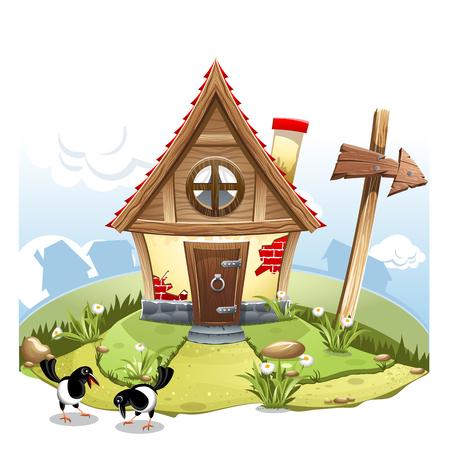 Cartoon landscape picture. High resolution vector Illustration