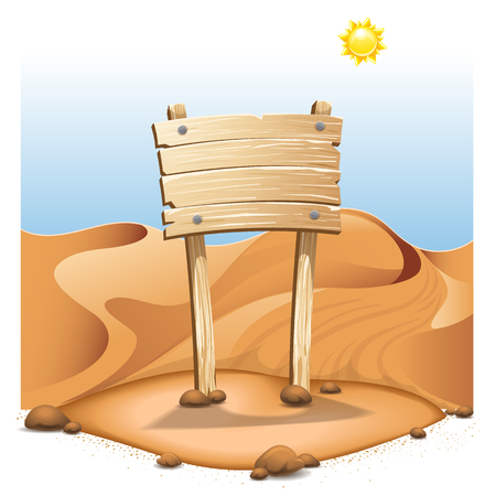 Empty board in desert. High resolution vector
