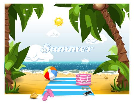 Cartoon Summer beach view.  High resolution vector