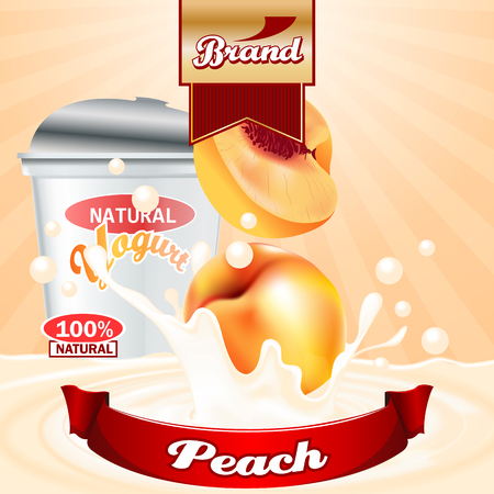 Peach Yogurt ads. High resolution vector