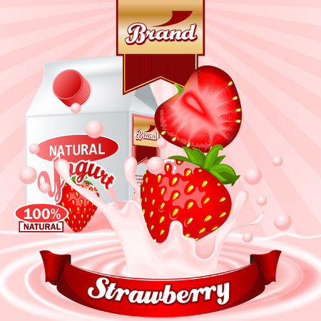 Yogurt Strawberry splash ads. High resolution vector