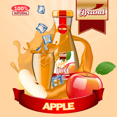 Apple juice ads. High resolution vector