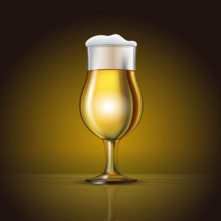 Fresh Beer in Glass. High resolution vector