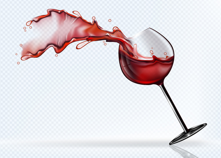 A glass of red wine splashing in the fall. Realistic vector image. Ilustração Vetorial