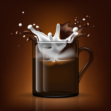 Cup of Coffee and Milk splashing. Layered and editable