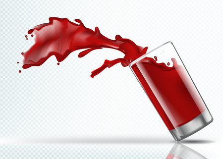 Splash of Strawberry juice from a falling glass
