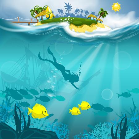 chica de buceo en el océano profundo con la bonita vista al aire libre