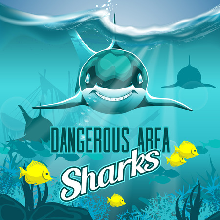 Sea depth with dangerous sharks