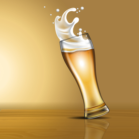 Splashing beer in a glass Illustration