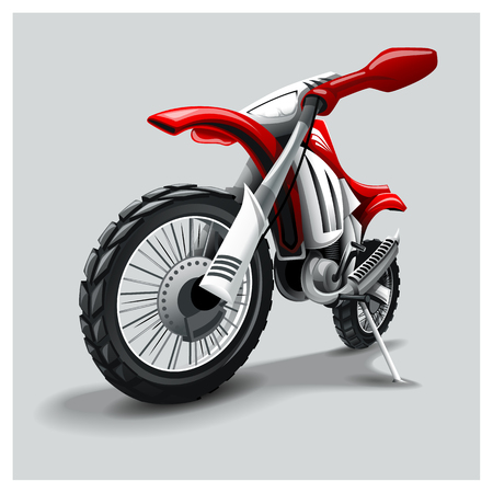Off-Road red motorbike. EPS 10 graphics. Layered and editable. Vector Illustration