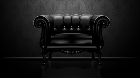 Royalty vintage leather armchair on black background. Mock up is ready to be converted to your business needs. Realistic image Stock Vector - 115214059