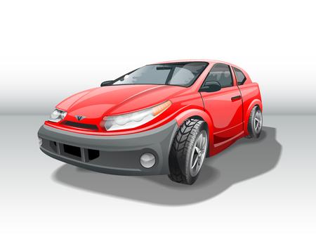 Red car, medium budget car. Illustration