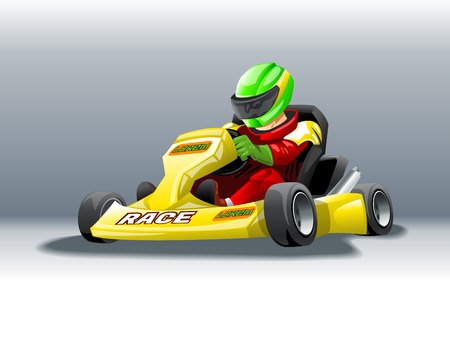 Karting with a rider at high speed. Stock Vector - 104576056