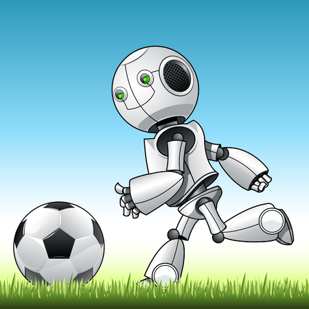 Funny kid robot playng with ball.