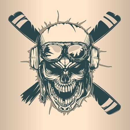 Crâne de pilote vintage, style tatoo dessiné main monochrome