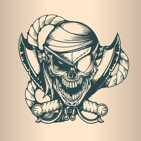 Vintage pirate skull, monochrome hand drawn tatoo style Çizim