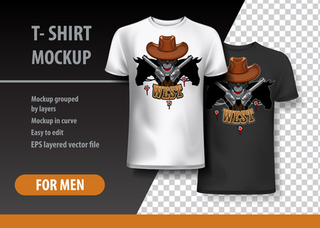T-Shirt template, fully editable with Cowboy skull theme. Vector Illustration. Ilustração