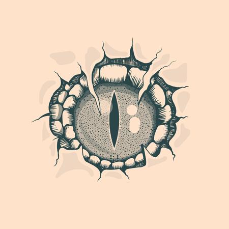 Dibujo vintage Reptyle Eye. Estilo de tatuaje. Foto de archivo - 105539311