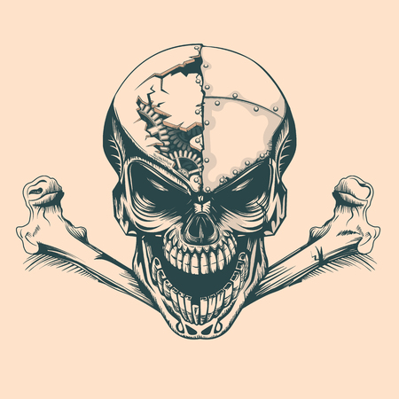 Vintage skull with mechanisms in mind, monochrome hand drawn tatoo style Illustration