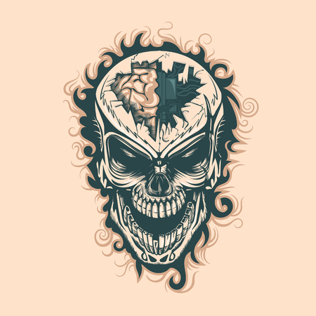 Vintage skull with electronics in mind, monochrome hand drawn tatoo style