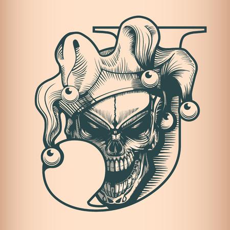 Vintage Joker skull, monochrome hand drawn tatoo style