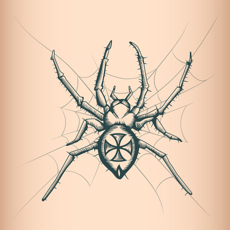 Vintage Spyder drawing. Tattoo style. Иллюстрация