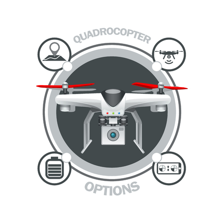 Drone Quadrocopter options. EPS 10 Vector graphics. Layered and editable.
