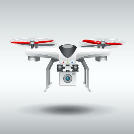 White Drone quadrocopter. EPS 10 Vector graphics. Layered and editable. Ilustração