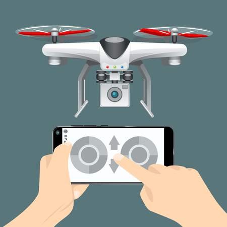 Control of the drone on the cellphone. EPS 10 Vector graphics. Layered and editable. Vectores