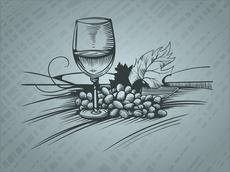 Wine glass and grapes, sketch pictures. EPS 10 Vector graphics. Layered and editable.