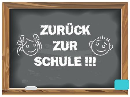 Back to school written chalk on a blackboard. In German. Illustration