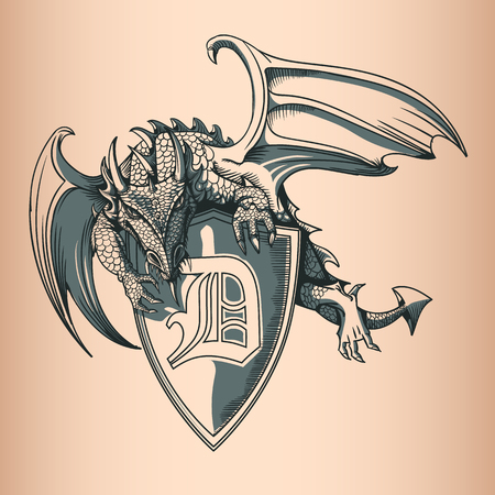 Dragon with Shield and Letter D. Hand Drawing image.