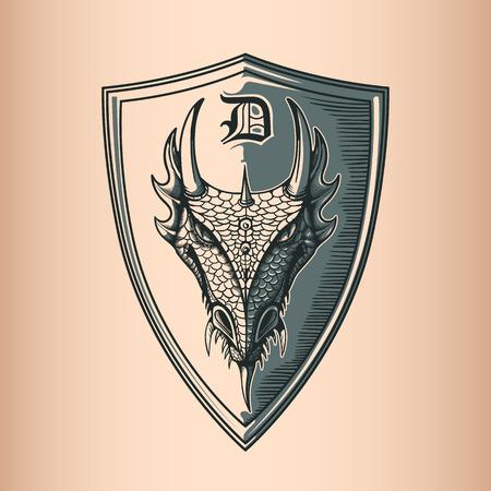 Dragon on Shield. Hand Drawing image. Vector Illustratie