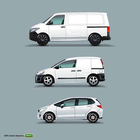 Mocup set of White Car, Cargo Van, and delivery Van. Vector Graphics template Mock Up.