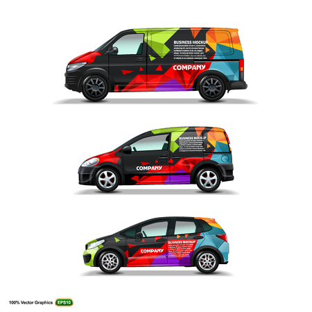 Mocup set with advertisement on Black Car, Cargo Van, and delivery Van. Vector Graphics template Mock Up. Vektorové ilustrace