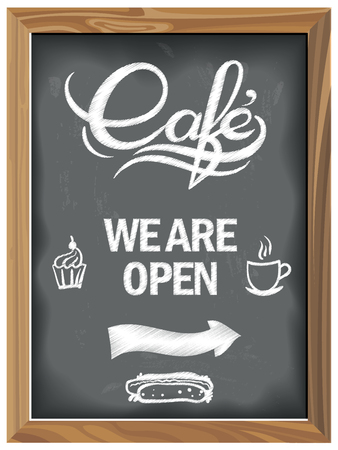 Vintage Chalkboard with Cafe open. EPS 10 Vector graphics. Layered and editable