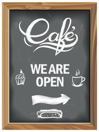 Vintage Chalkboard with Cafe open. EPS 10 Vector graphics. Layered and editable Ilustracje wektorowe