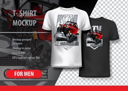 T-Shirt template, fully editable with Red Off-Road ATV buggy. EPS 10 Vector Illustration.