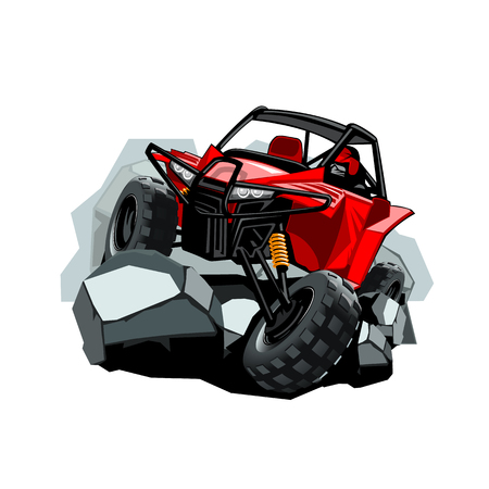 Off-Road ATV Buggy, rides in the mountains on the rocks. Red color.