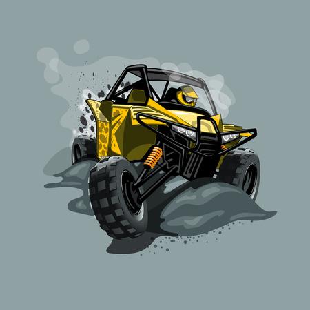 Buggy fuoristrada ATV, cavalca nel fango. Colore giallo. EPS 10 Grafica vettoriale. Stratificato e modificabile.