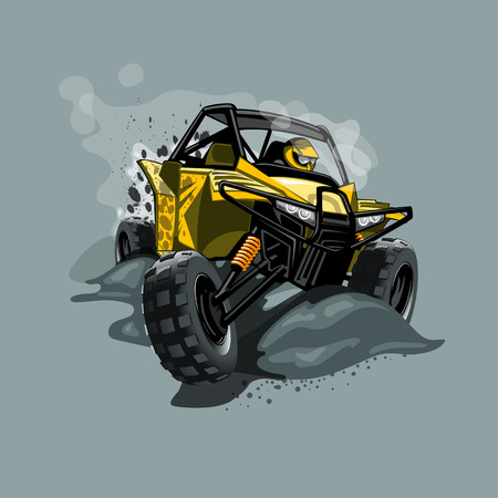 Off-Road ATV Buggy, rides through the mud. Yellow color. EPS 10 Vector graphics. Layered and editable.