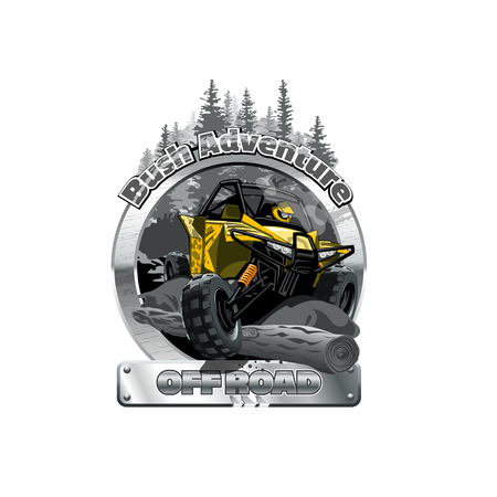 Off-Road ATV Buggy Logo, Bush Adventute