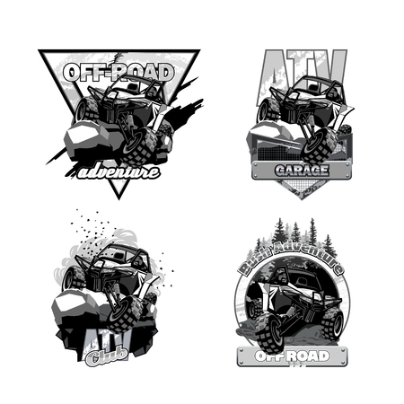 Off-Road ATV Buggy, Black and White Logo