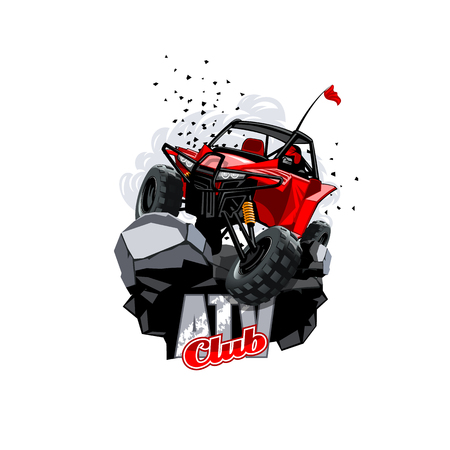 Off-Road ATV Buggy Logo, Club. Illustration