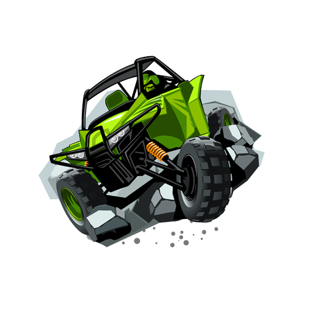Off-Road ATV Buggy, rides through obstacles stones. Green color. EPS 10 Vector graphics. Layered and editable.