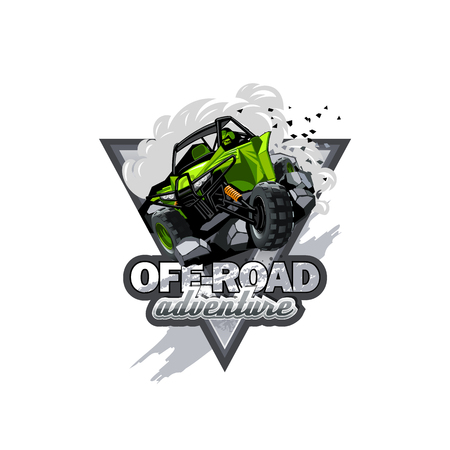 Off-Road ATV Buggy Logo, Extreme adventure Stock Illustratie