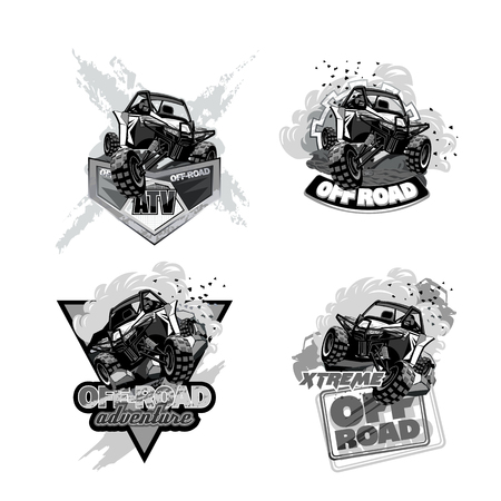 ATV Off-Road Buggy, Black and White Logo