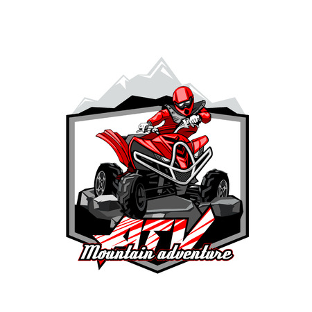 Quad Bike Off-Road ATV Logo, Mountain adventure.