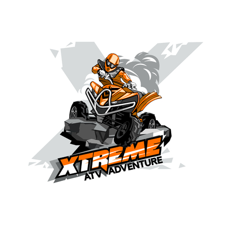 Quad Bike Off-Road ATV Logo, Extreme adventure.